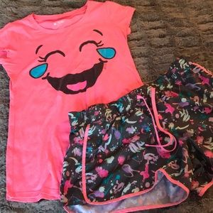 Justice athletic shorts 14 pink neon emoji tee